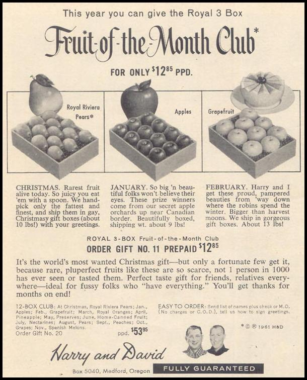 HARRY & DAVID FRUIT-OF-THE-MONTH CLUB TIME 11/17/1961 p. 100
