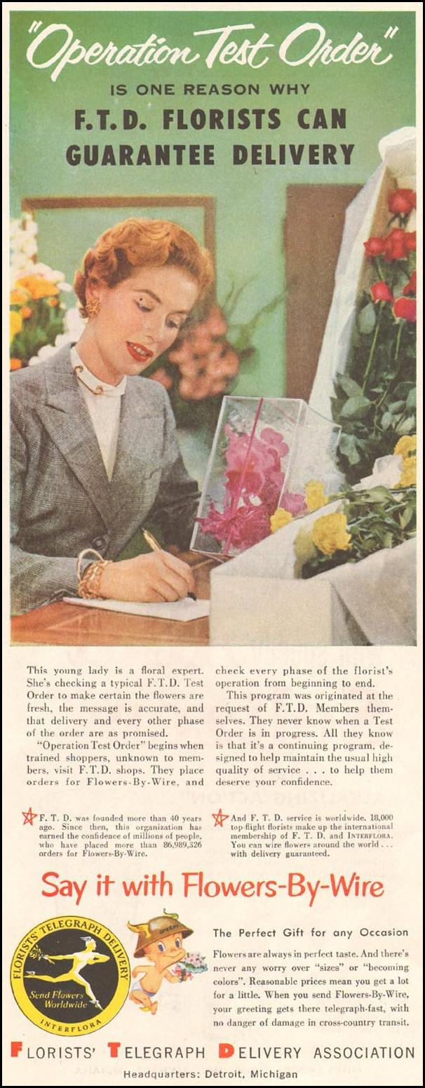 FTD FLOWERS-BY-WIRE LADIES' HOME JOURNAL 03/01/1954 p. 90