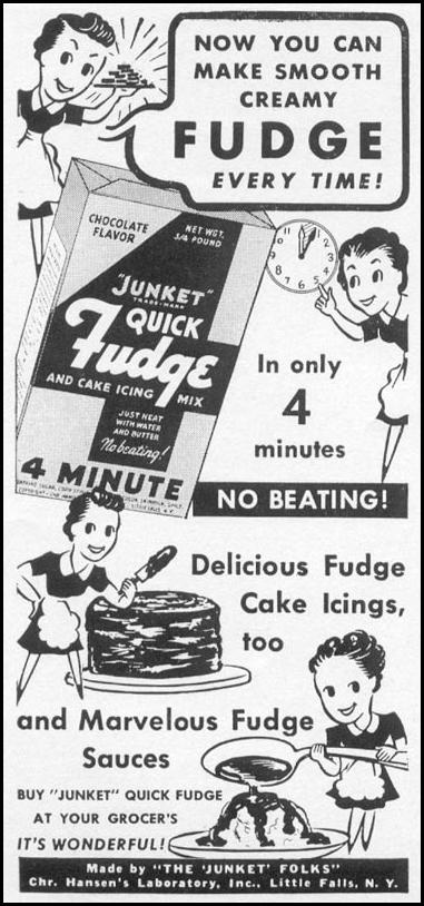 JUNKET QUICK FUDGE AND CAKE ICING MIX WOMAN'S DAY 12/01/1939 p. 38