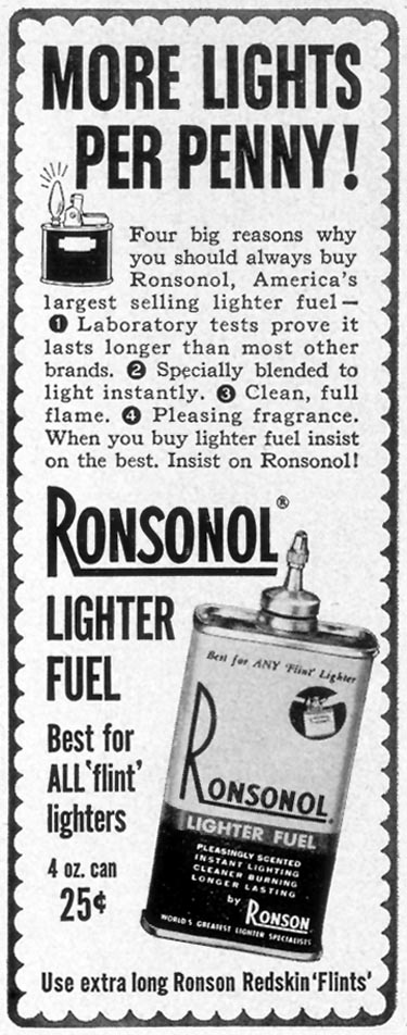 RONSONOL LIGHTER FUEL LIFE 12/24/1951 p. 61