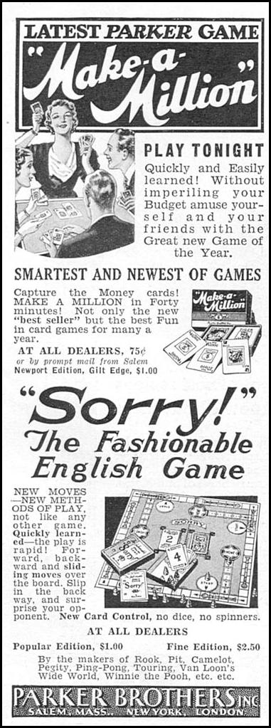 SORRY! BOARD GAME GOOD HOUSEKEEPING 12/01/1934 p. 162