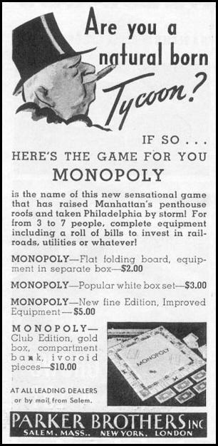 MONOPOLY NEWSWEEK 11/09/1935 p. 36
