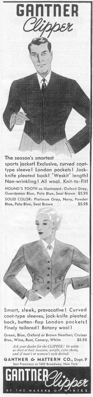 GANTNER CLIPPER SPORTS JACKET NEWSWEEK 11/09/1935 p. 41