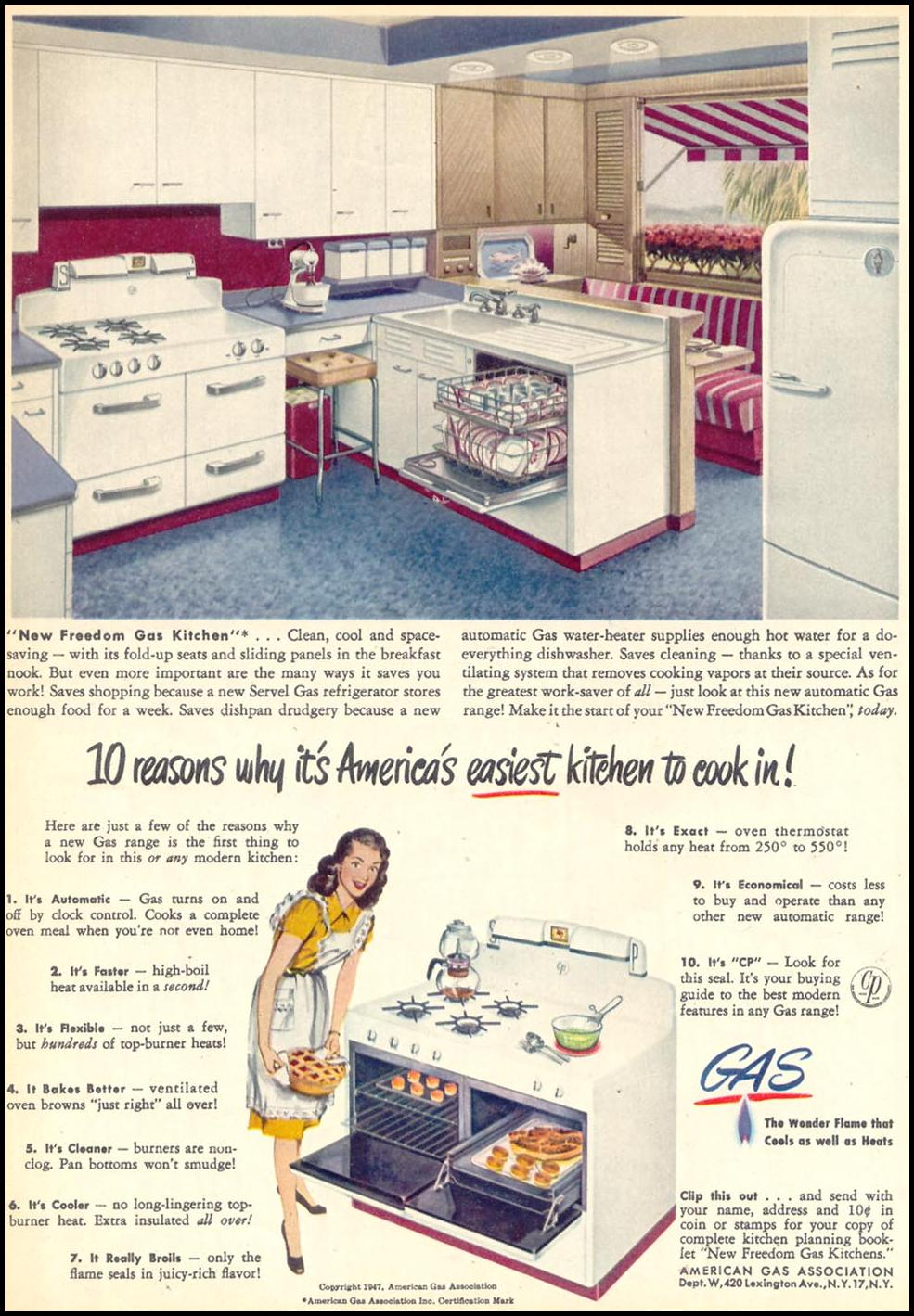 GAS KITCHEN APPLIANCES WOMAN'S DAY 09/01/1947 p. 22