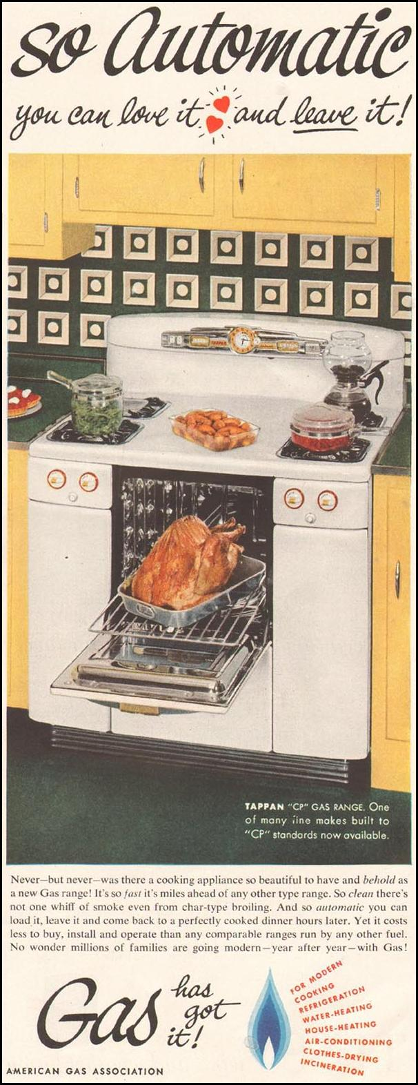 GAS RANGES LADIES' HOME JOURNAL 11/01/1950 p. 113