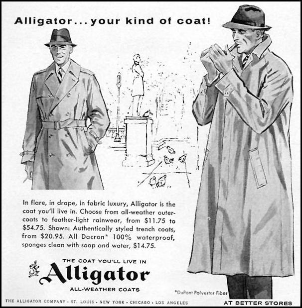 ALLIGATOR ALL-WEATHER COATS TIME 05/05/1958 p. 36