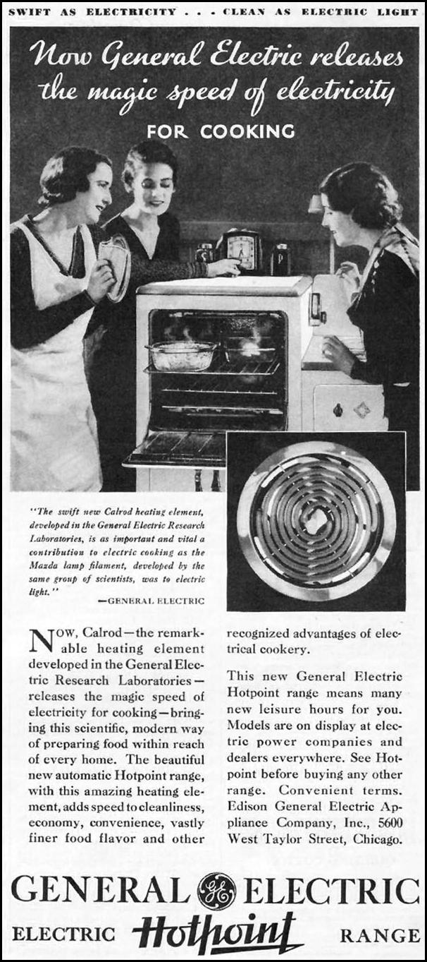 GENERAL ELECTRIC HOTPOINT RANGE BETTER HOMES AND GARDENS 03/01/1932 p. 53