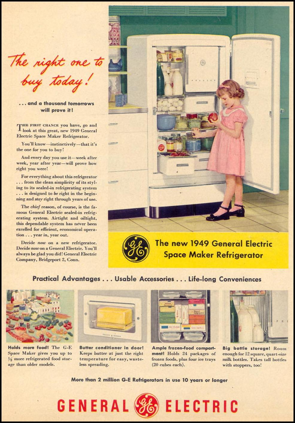 G. E. SPACE MAKER REFRIGERATOR WOMAN'S DAY 05/01/1949 p. 9
