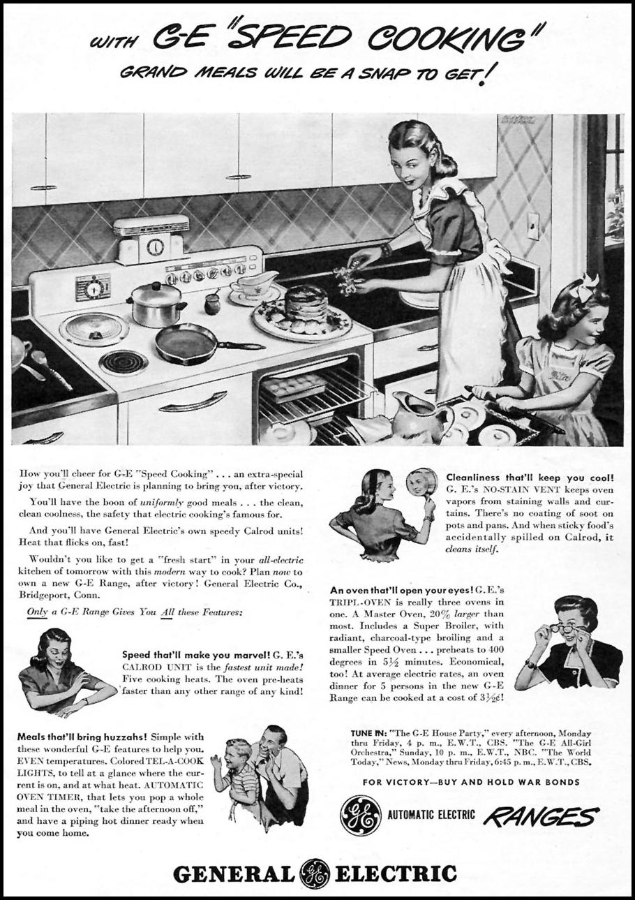 GENERAL ELECTRIC RANGES WOMAN'S DAY 07/01/1945 p. 6