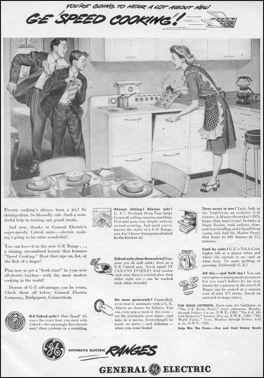G. E. AUTOMATIC ELECTRIC RANGES WOMAN'S DAY 11/01/1945 p. 65