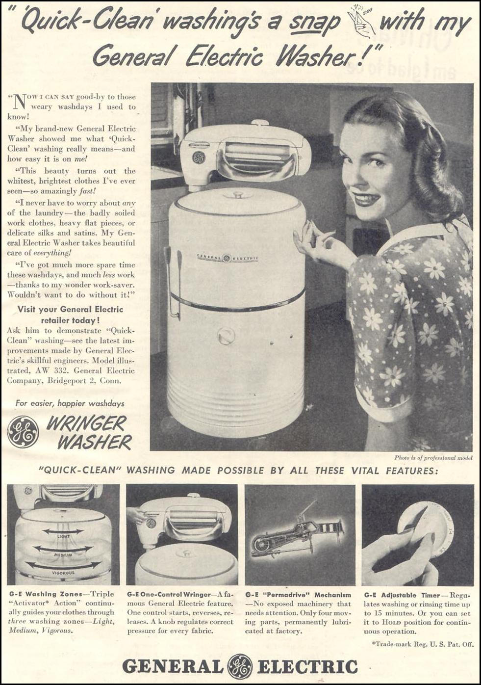 GENERAL ELECTRIC WRINGER WASHERS GOOD HOUSEKEEPING 07/01/1948 p. 131