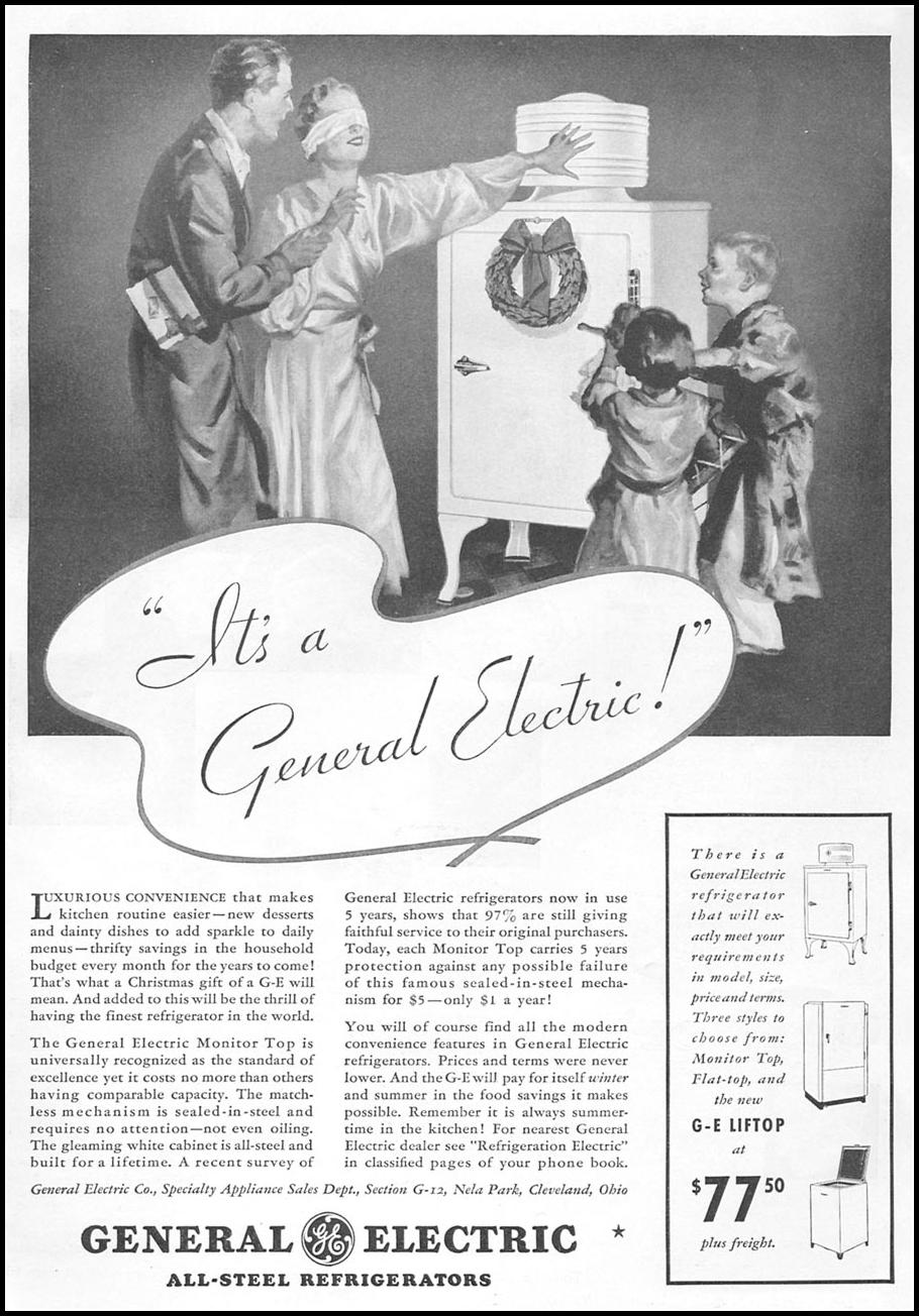 GENERAL ELECTRIC REFRIGERATORS GOOD HOUSEKEEPING 12/01/1934 p. 119
