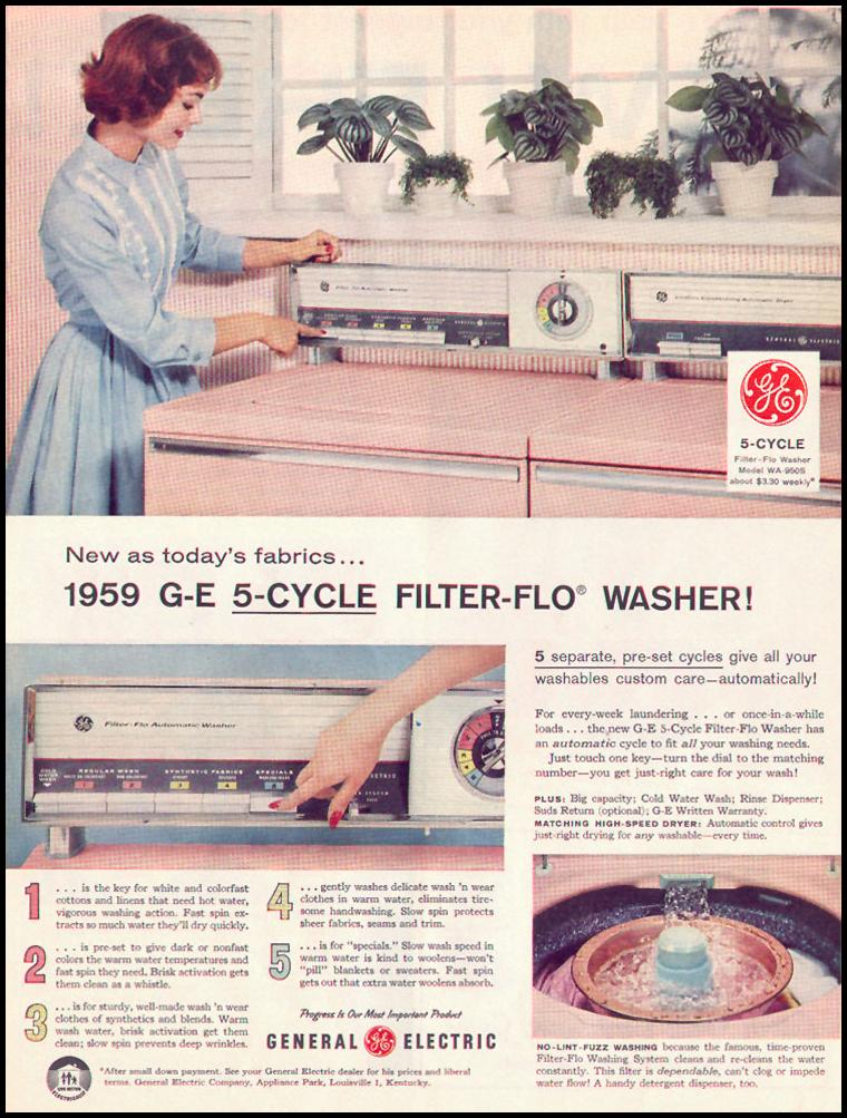 5 CYCLE FILTER-FLO CLOTHES WASHER LIFE 02/02/1959 p. 18