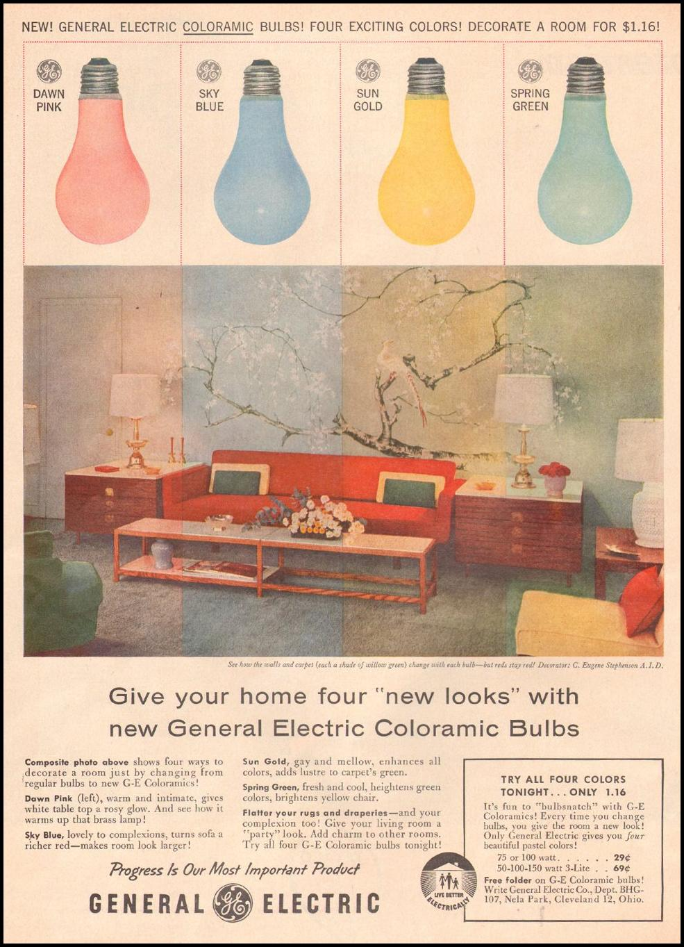 GENERAL ELECTRIC COLORAMIC LIGHT BULBS LOOK 10/29/1957 p. 72