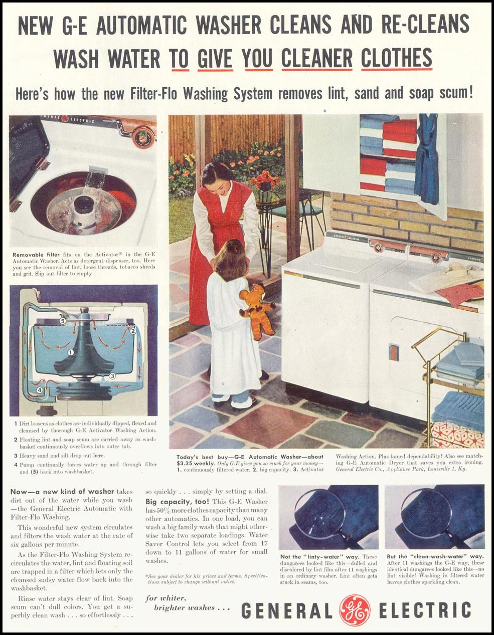 GENERAL ELECTRIC AUTOMATIC WASHER SATURDAY EVENING POST 02/05/1955
