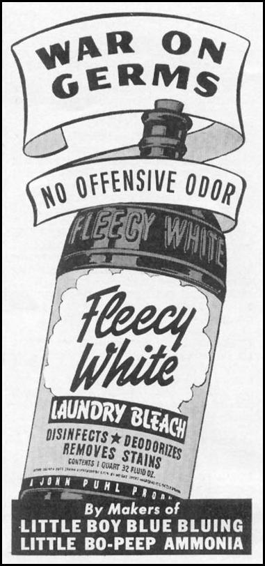 FLEECY WHITE LAUNDRY BLEACH WOMAN'S DAY 09/01/1942 p. 68