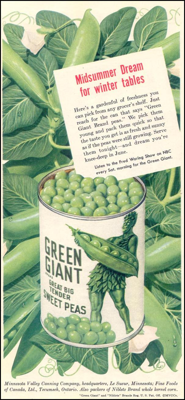 GREEN GIANT GREAT BIG TENDER PEAS WOMAN'S DAY 02/01/1950 p. 72