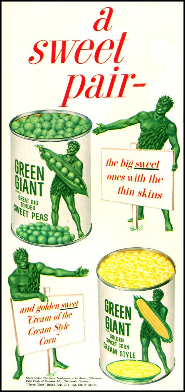 GREEN GIANT CANNED VEGETABLES WOMAN'S DAY 02/01/1954 p. 60