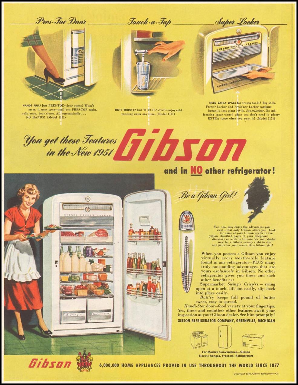 GIBSON REFRIGERATORS LADIES' HOME JOURNAL 11/01/1950 p. 238