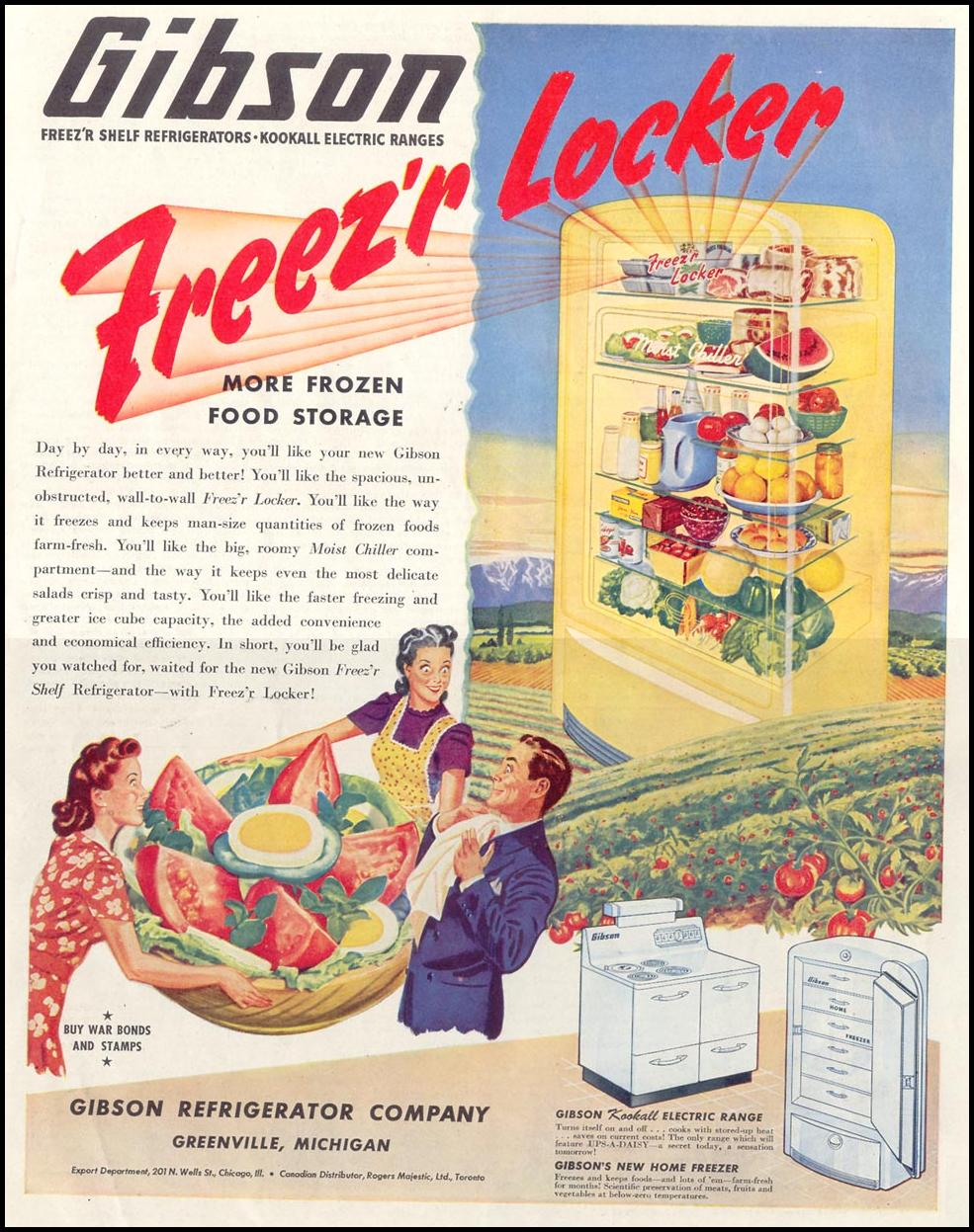 GIBSON REFRIGERATORS SATURDAY EVENING POST 10/06/1945 p. 111