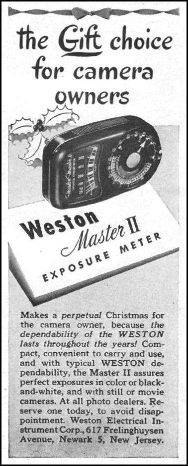 WESTON MASTER II EXPOSURE METER LIFE 11/25/1946 p. 22