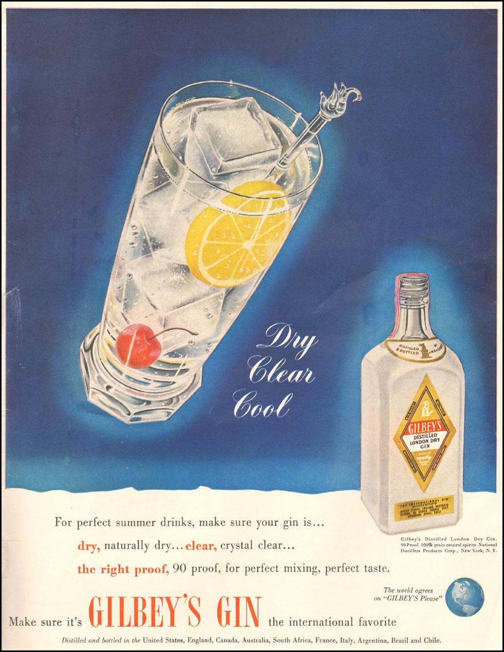 GILBEY'S GIN LIFE 07/02/1951 INSIDE BACK