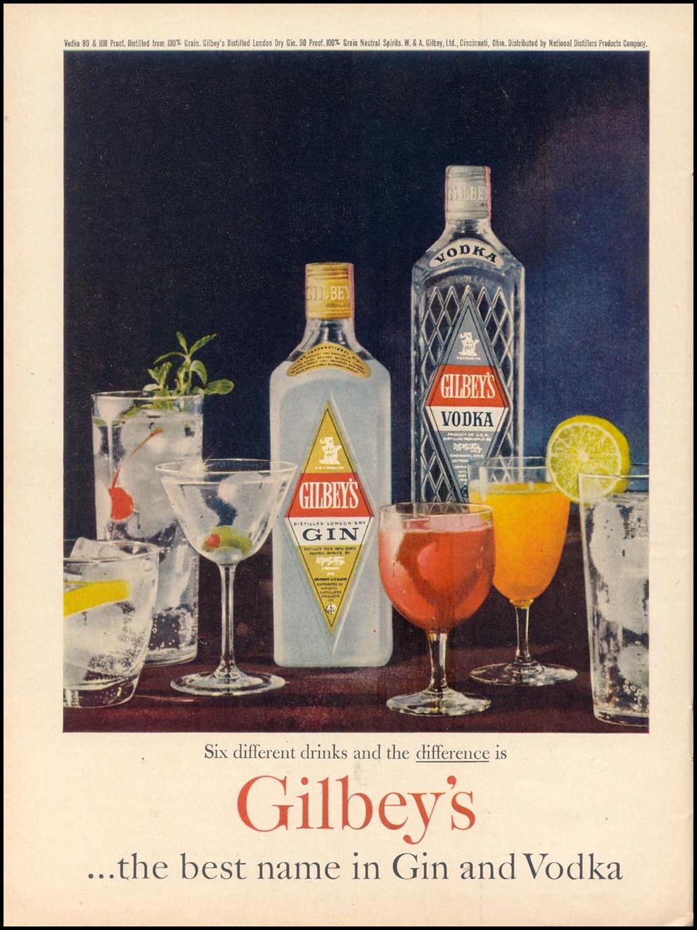 GILBEY'S GIN AND VODKA TIME 11/17/1961