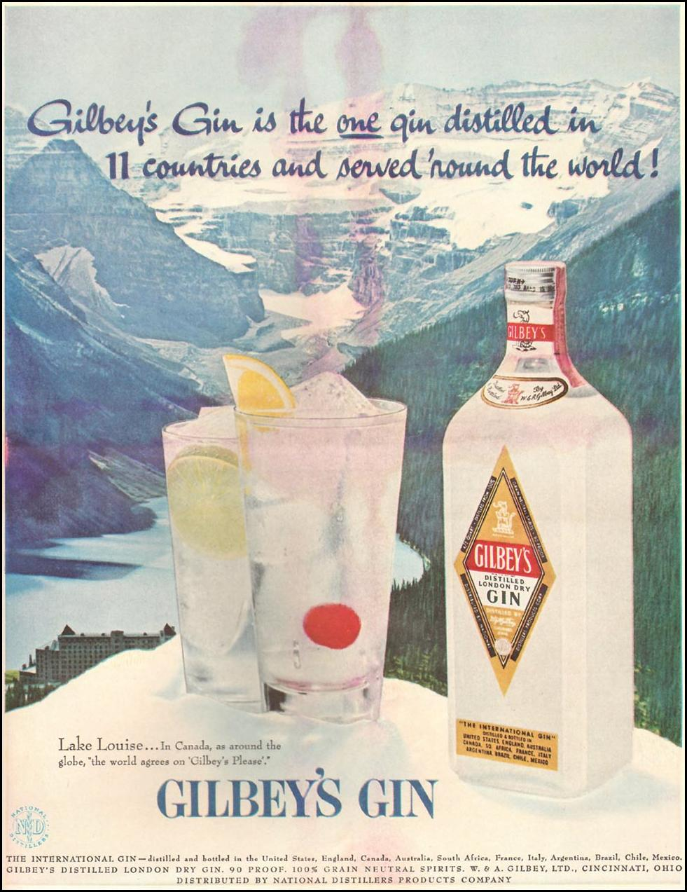 GILBEY'S GIN LIFE 06/24/1957 INSIDE BACK