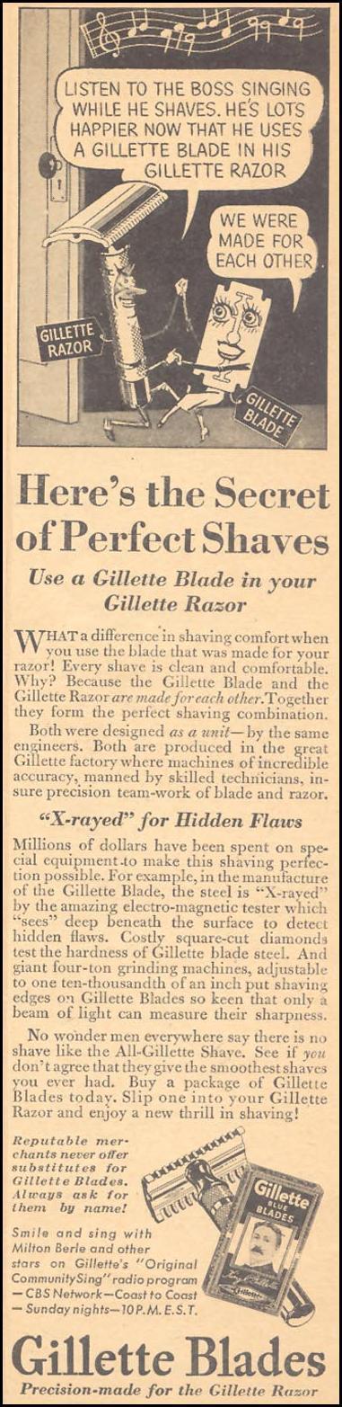 GILLETTE RAZOR BLADES LIBERTY 11/28/1936 p. 35
