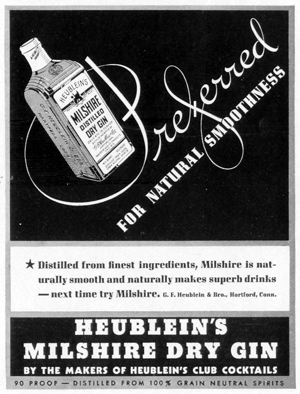 HEUBLEIN'S MILSHIRE DRY GIN LIFE 08/30/1937 p. 19
