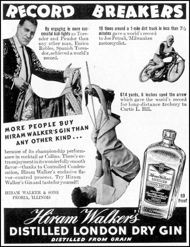 HIRAM WALKER'S DISTILLED LONDON DRY GIN LIFE 09/20/1937 p. 116
