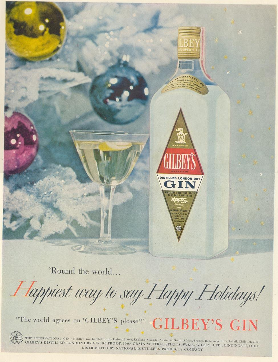 GILBEY'S GIN LIFE 11/11/1957 INSIDE BACK