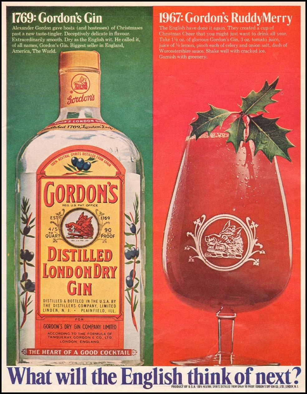 GORDON'S DISTILLED LONDON DRY GIN LIFE 12/22/1967