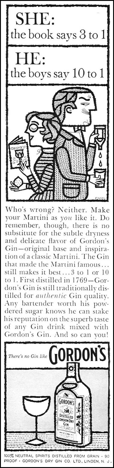 GORDON'S DISTILLED LONDON DRY GIN SPORTS ILLUSTRATED 05/11/1959 p. 96