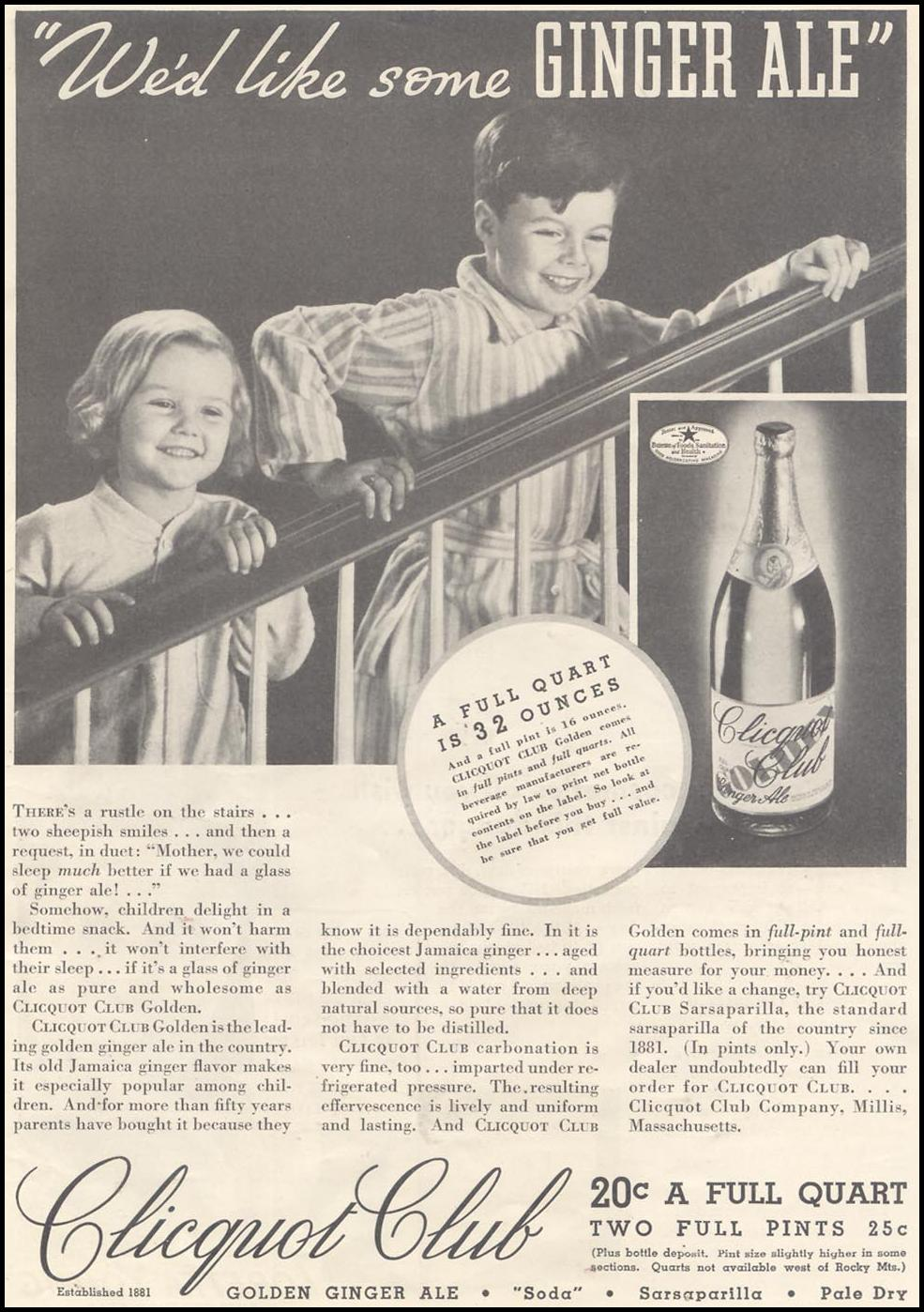 CLICQUOT CLUB GOLDEN GINGER ALE GOOD HOUSEKEEPING 03/01/1935 p. 9