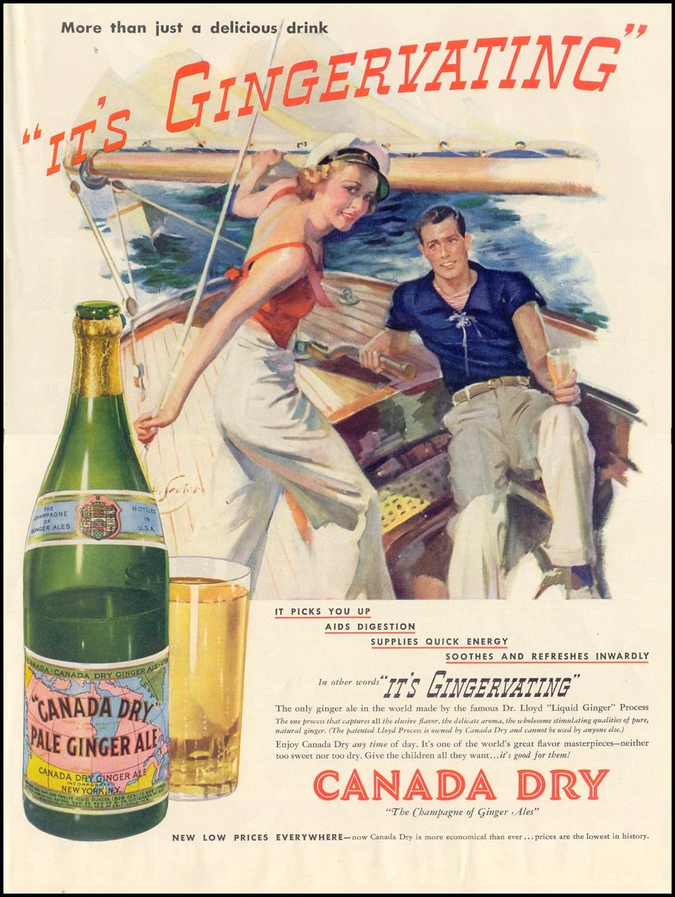 CANADA DRY GINGER ALE LIFE 08/30/1937