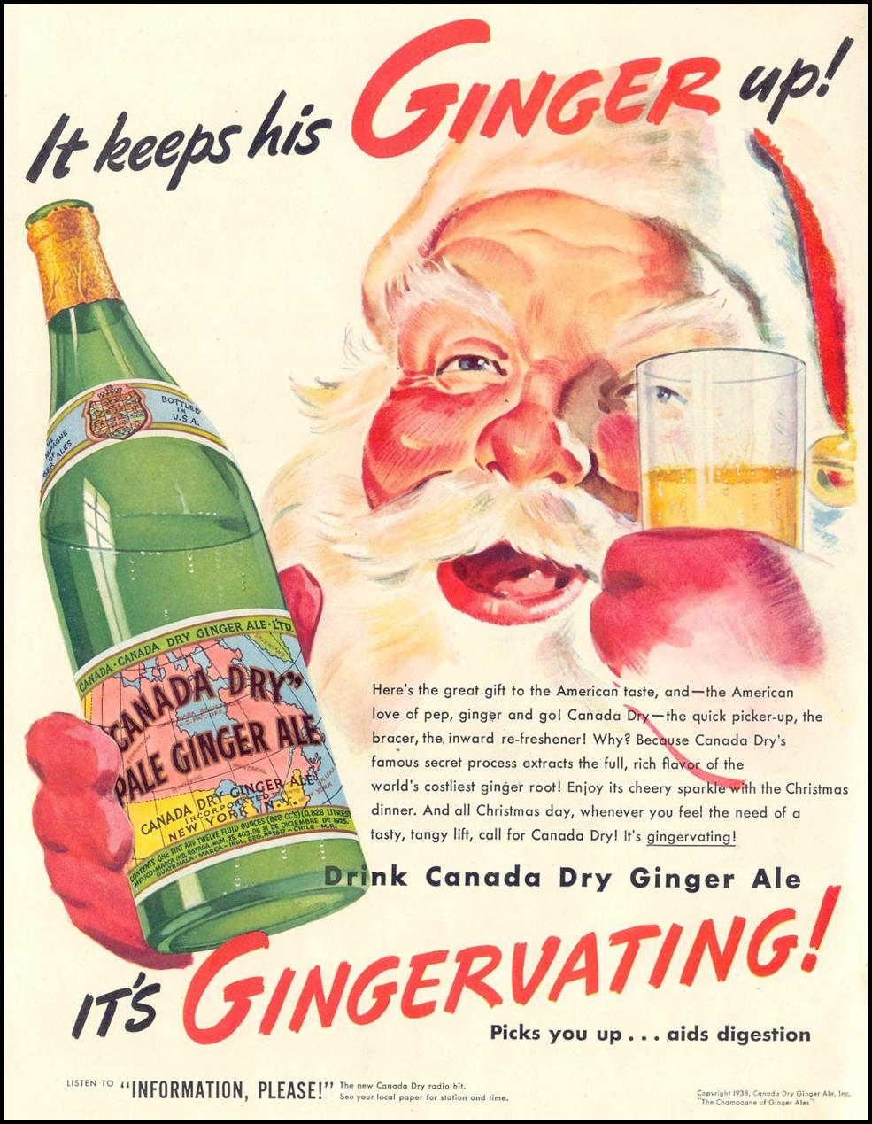 CANADA DRY GINGER ALE LIFE 12/12/1938