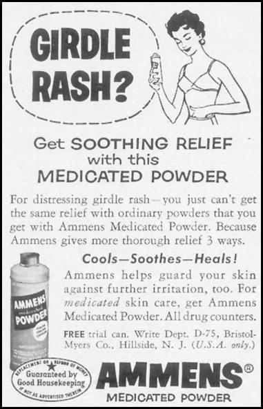 AMMENS MEDICATED POWDER? WOMAN'S DAY 07/01/1955 p. 114