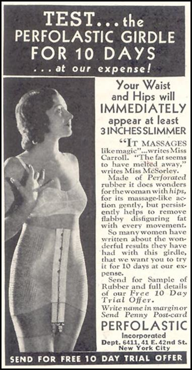 PERFOLASTIC GIRDLE GOOD HOUSEKEEPING 11/01/1933 p. 209