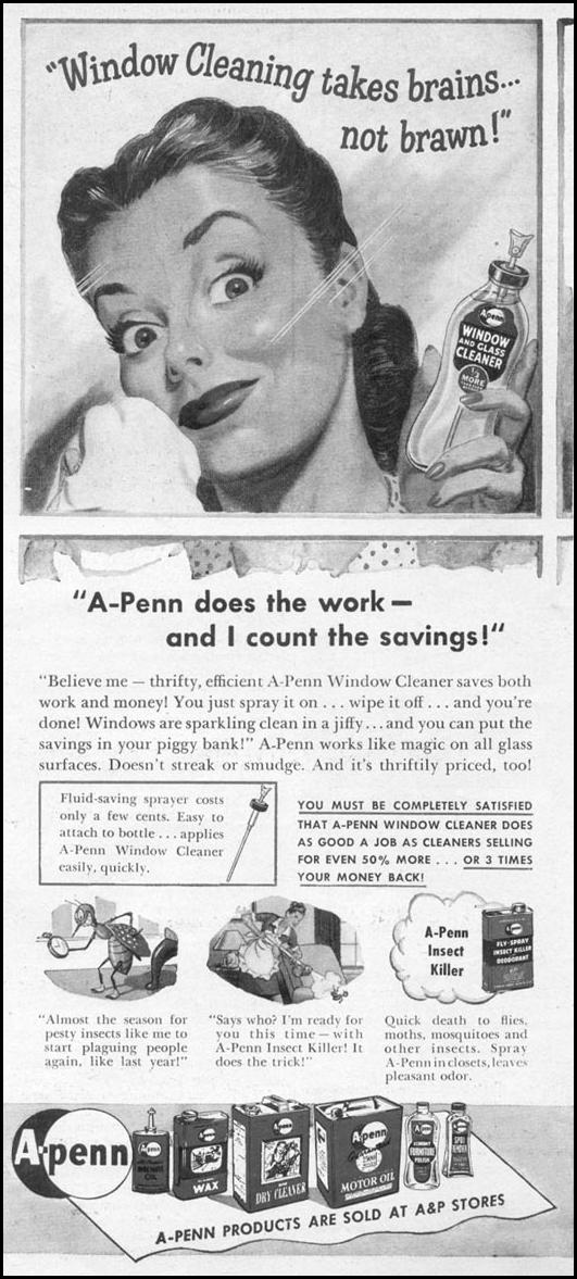 A-PENN WINDOW CLEANER WOMAN'S DAY 06/01/1946 p. 13