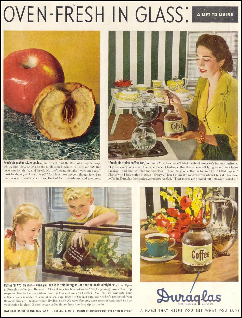 DURGLAS GLASS PACKAGING SATURDAY EVENING POST 05/19/1945 INSIDE FRONT