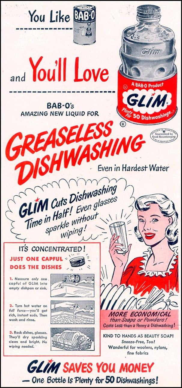 GLIM DISHWASHING LIQUID WOMAN'S DAY 05/01/1949 p. 102