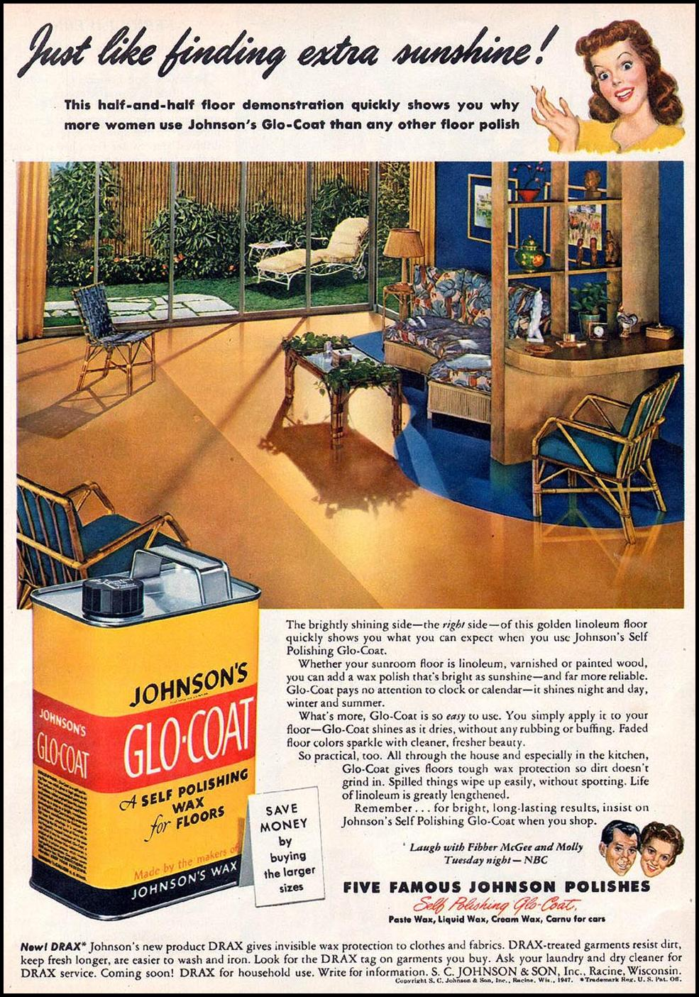 JOHNSON'S GLO-COAT FLOOR WAX WOMAN'S DAY 06/01/1947 p. 55