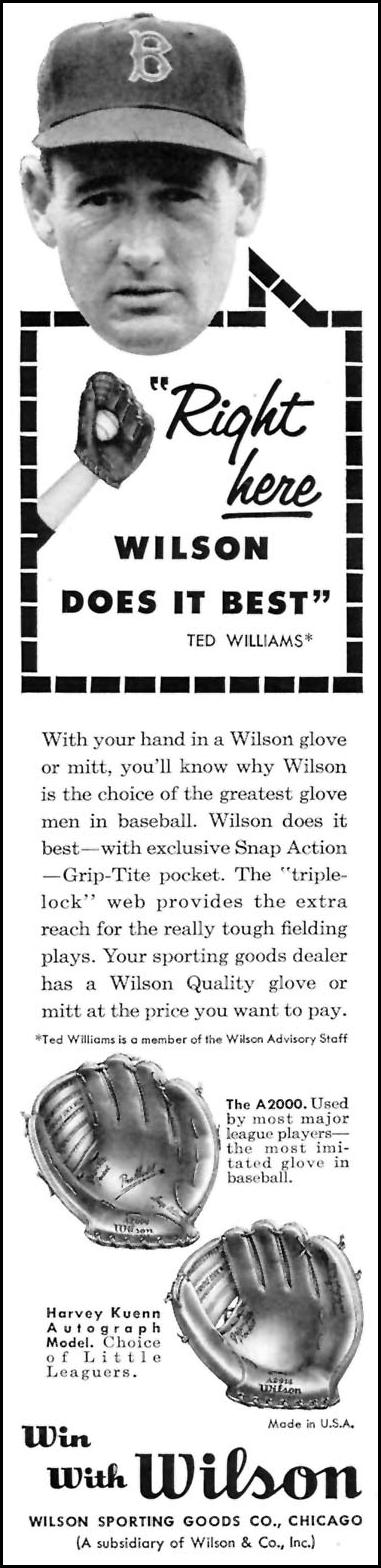 WILSON BASEBALL GLOVES SPORTS ILLUSTRATED 05/25/1959 p. 8