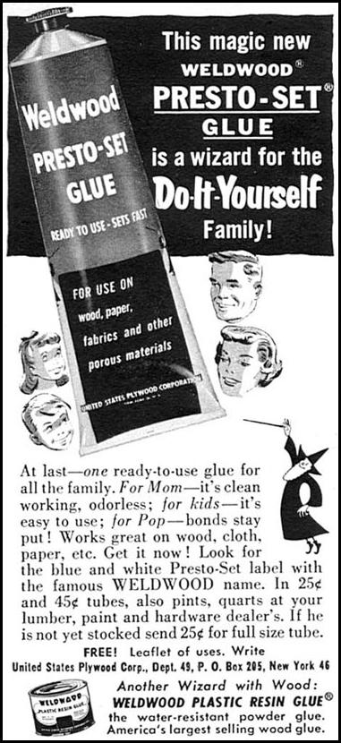 WELDWOOD PRESTO-SET GLUE WOMAN'S DAY 02/01/1954 p. 174