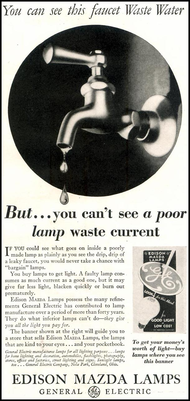 EDISON MAZDA LAMPS GOOD HOUSEKEEPING 11/01/1933 p. 143