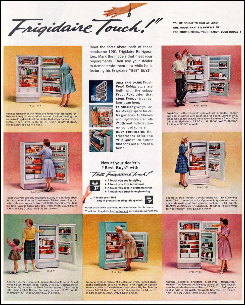 FRIGIDAIRE REFRIGERATORS LADIES' HOME JOURNAL 06/01/1961 p. 27