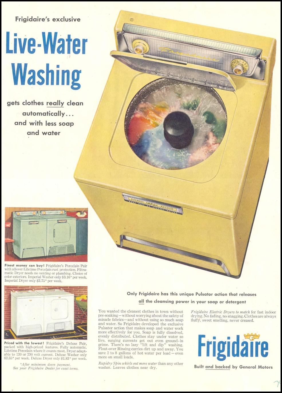 FRIGIDAIRE WASHING MACHINES SATURDAY EVENING POST 03/26/1955 p. 75
