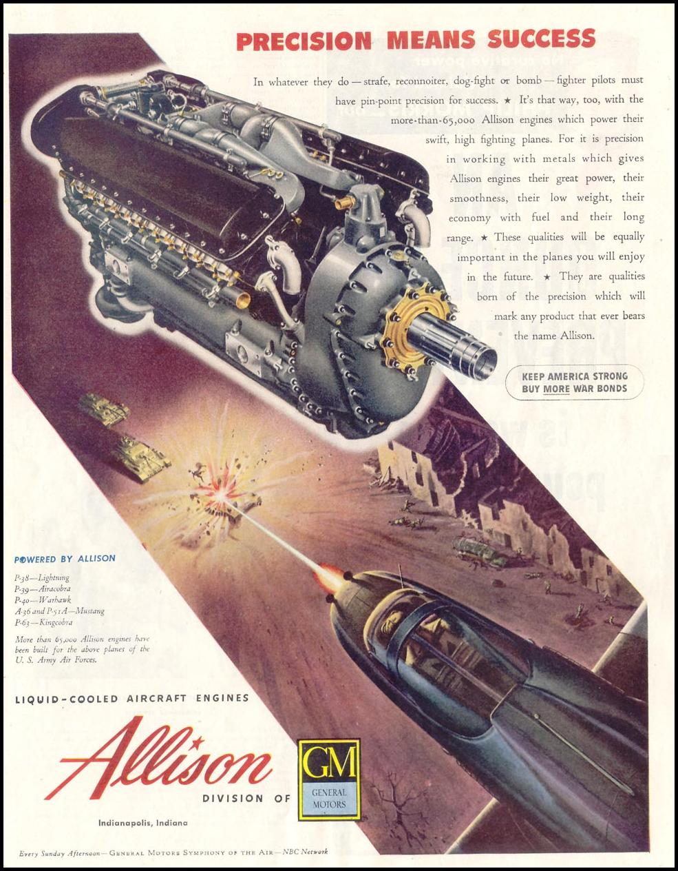 ALLISON LIQUID-COOLED AIRCRAFT ENGINES SATURDAY EVENING POST 05/19/1945 p. 45