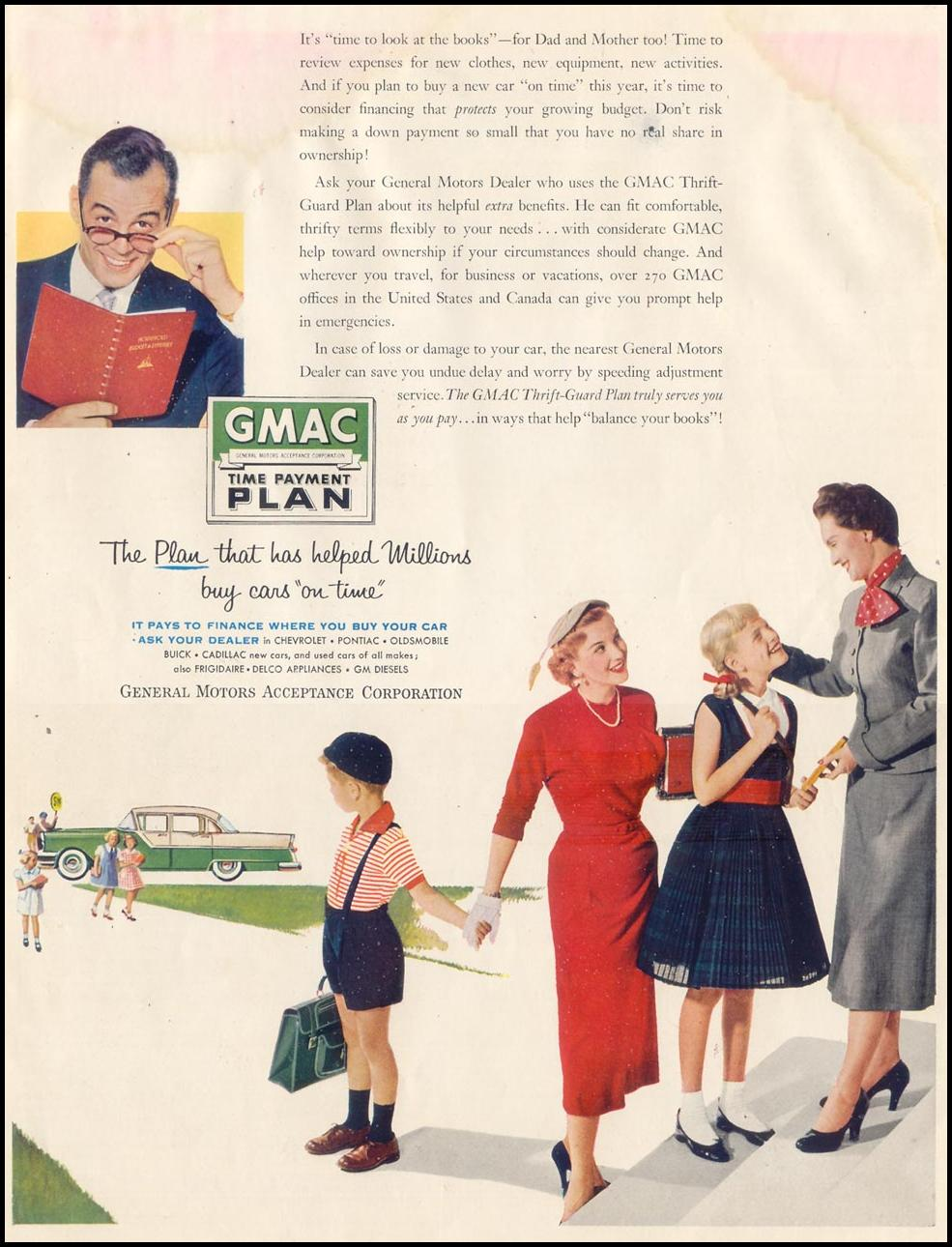 GMAC TIME PAYMENT PLAN SATURDAY EVENING POST 09/03/1955 INSIDE BACK